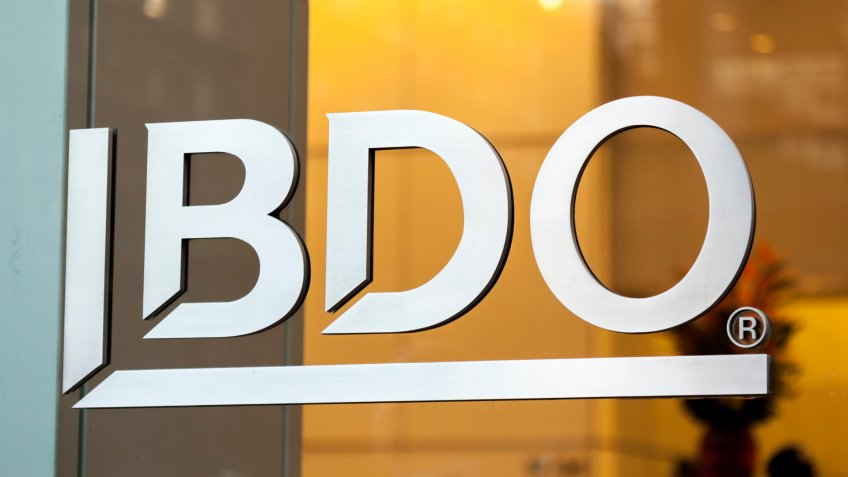 New York, New York, USA - September 17, 2019: Metal logo on glass at a BDO location in midtown Manhattan.
