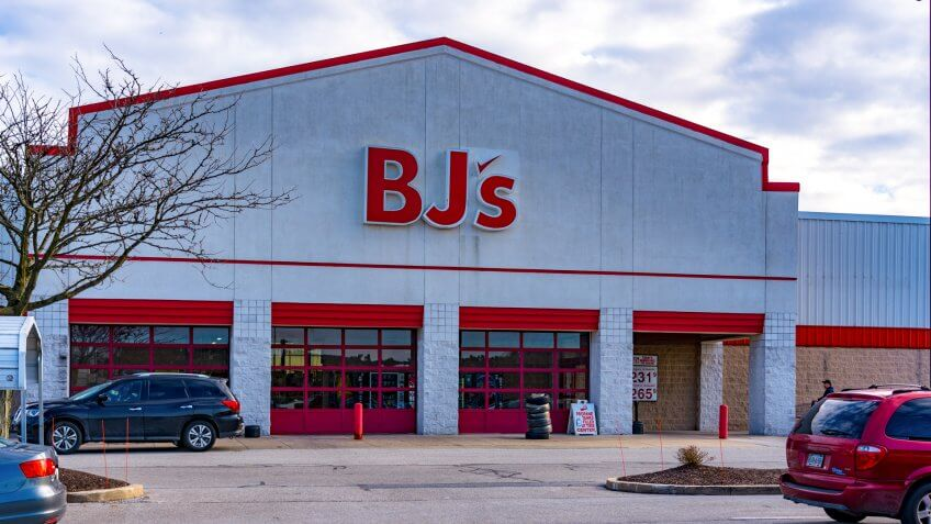 York, PA, USA - January 26, 2019: BJs Wholesale Club is an American membership-only warehouse chain operating in the Eastern United States.
