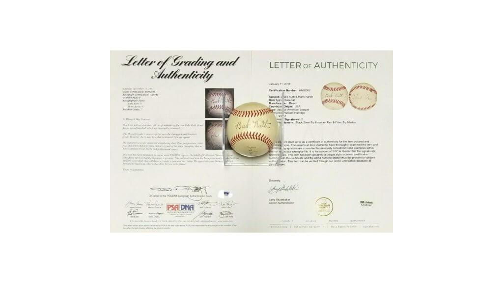 Babe Ruth Hank Aaron Dual Autographed Signed Baseball Autograph Auto Memorabilia Amazon