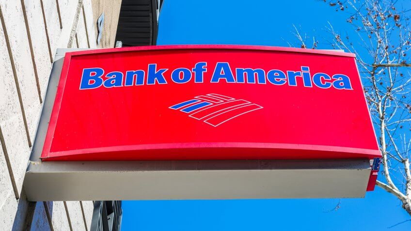 February 21, 2018 San Jose / CA / USA - Bank of America logo above the entrance to one of the bank's branches, San Francisco bay area - Image.