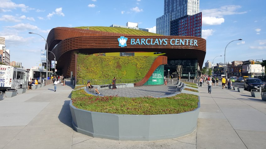 Barclays Center arena covered with grass roof.