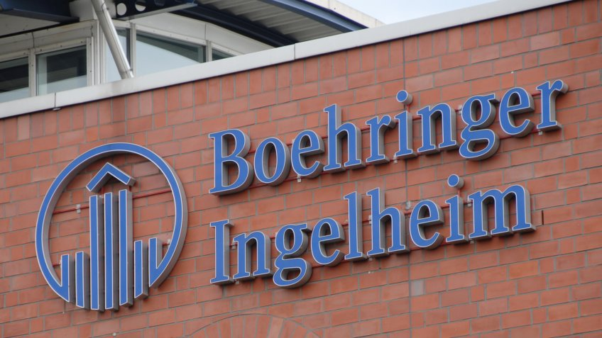 Dortmund, North Rhine-Westphalia / Germany - July 14, 2007: Boehringer Ingelheim logo at the entrance of Boehringer Ingelheim microparts GmbH in Dortmund, Germany - Image.