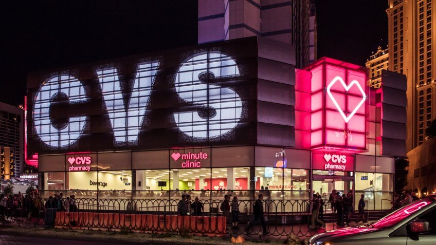 An editorial stock photo of the CVS store front on Las Vegas strip.