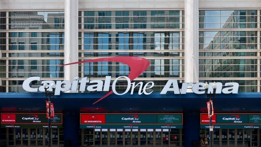 WASHINGTON - JULY 6, 2019: CAPITAL ONE ARENA sign at entrance to stadium.