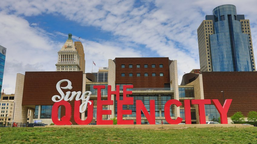 "CINCINNATI, OHIO - JUNE 18, 2017: ""Sing the Queen city"" is a 3D sculpture that is part of Cincinnati's Artworks urban public art project."