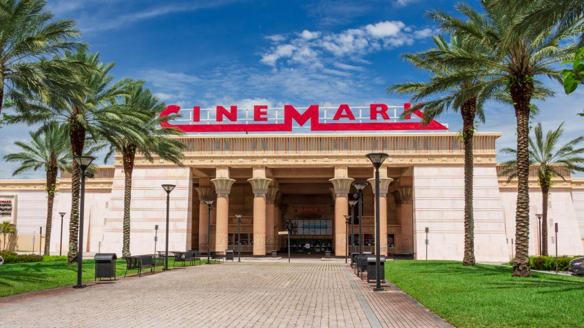 Front facade of Cinemark Paradise 24 movie theater in the style of an Egyptian temple in Davie, Florida, USA.