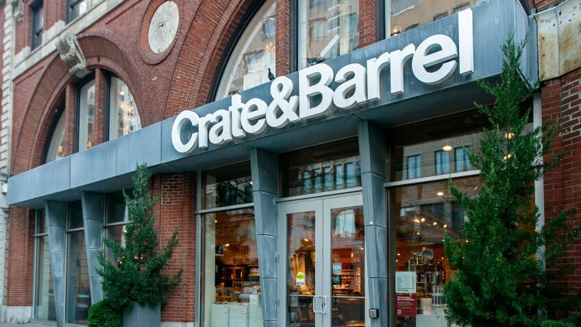 Boston, October 28, 2017: The front entrance to a Crate and Barrel store.