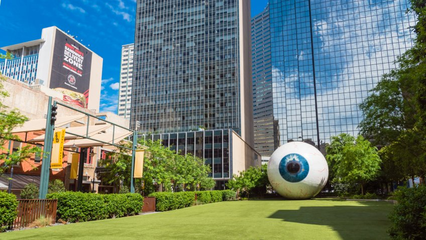 DALLAS, TX, USA-MAY 3, 2019: Hyper-realistic eyeball with streaky red veins created by artist Tony Tasset in 2007.