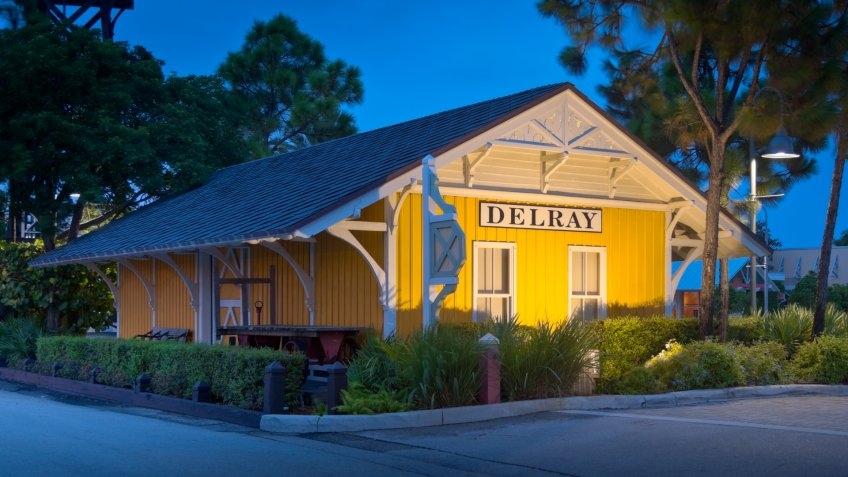 """Old restored rail station in Delra Beach, Florida."