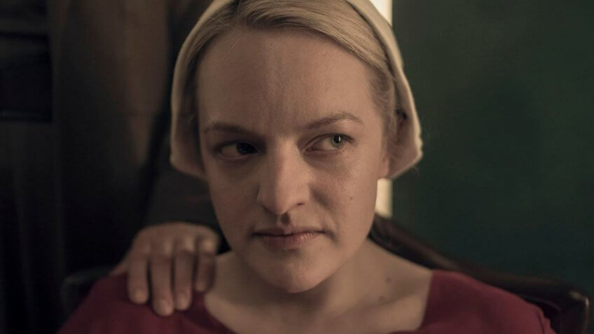 Elizabeth Moss as Offred in The Handmaids Tale