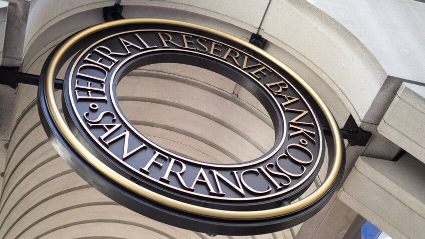 San Francisco downtown, San Francisco, California, the United States: 04/20/2018 - The sign of An Francisco federal reserve bank - Image.