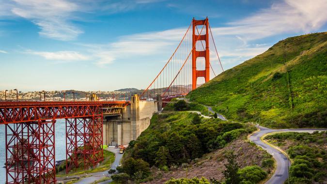 View of the Golden Gate Bridge, in Golden Gate National Recreation Area, in San Francisco, California.