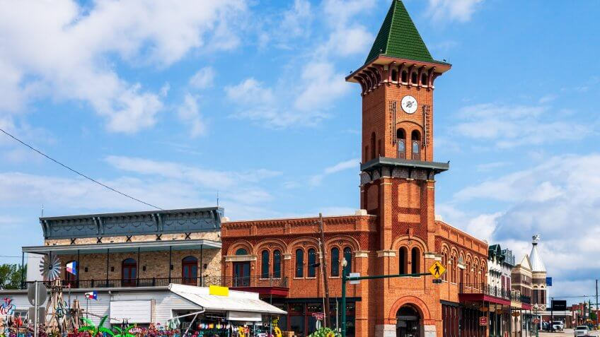 Historic Downtown Grapevine Texas with its collection of unique hops and its amazing convention center and visitor's bureau.