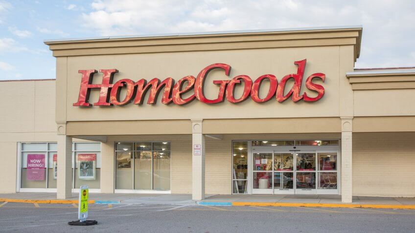 Philadelphia, Pennsylvania - October 16, 2017:HomeGoods retail store exterior and sign.