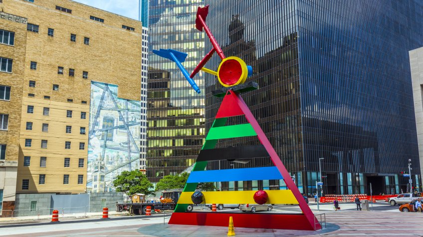 HOUSTON, TEXAS, USA - JULY 11: sculpture Personage and Birds by Joan Miro created in 1970 and installed here in 1982 on July 11, 2013 in Houston, USA.