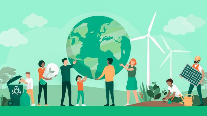 Multiethnic group of people cooperating for environmental protection and sustainability in a park: they are supporting earth together, recycling waste, growing plants and choosing renewable energy resources.