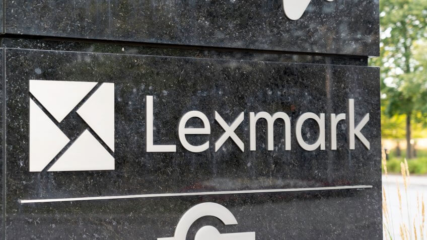 Markham, Ontario, Canada - August 16, 2019: Sign of Lexmark Canada in Markham near Toronto, Ontario, Canada, a American company that manufactures laser printers and imaging products.