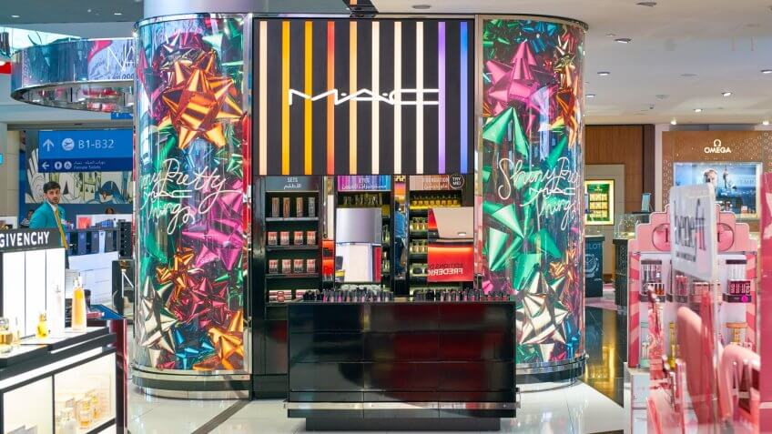 DUBAI, UAE - CIRCA JANUARY, 2019: MAC makeup products on display at Dubai International Airport.