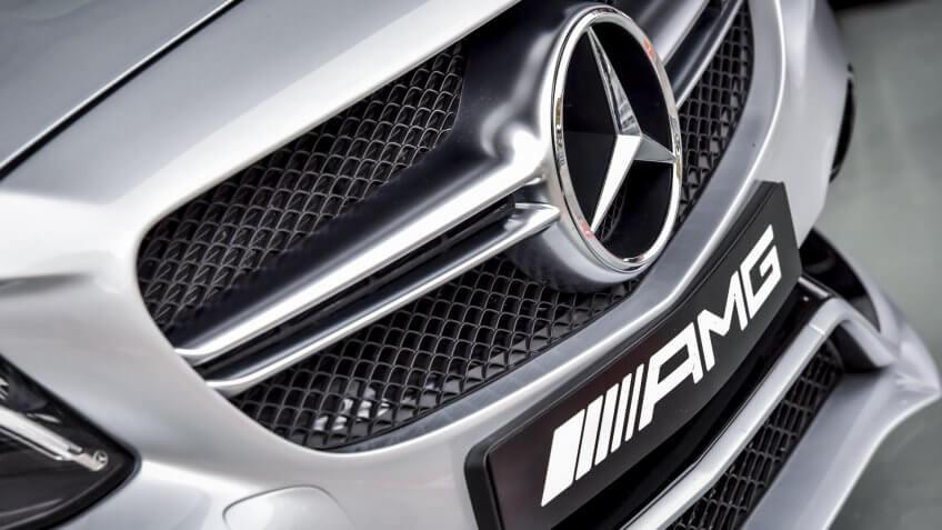 KUALA LUMPUR, MALAYSIA - OCTOBER 2, 2017 : Close up of Mercedes-Benz AMG car logo and rear bumper.