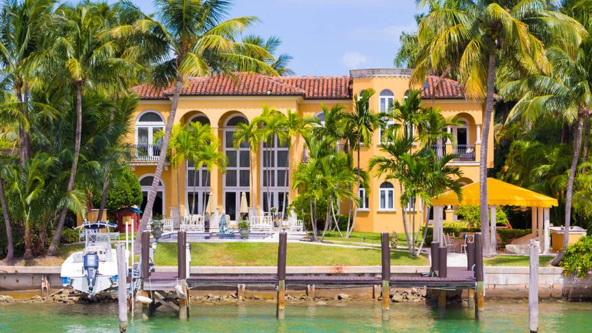 MIAMI,USA - AUGUST 26, 2014 : Luxurious mansion on Star Island, home of the rich and famous in Miami.