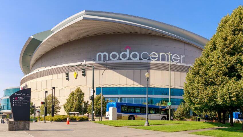 Portland, Oregon - Aug 29, 2018 : Moda Center, Sports arena in Portland city - Image.