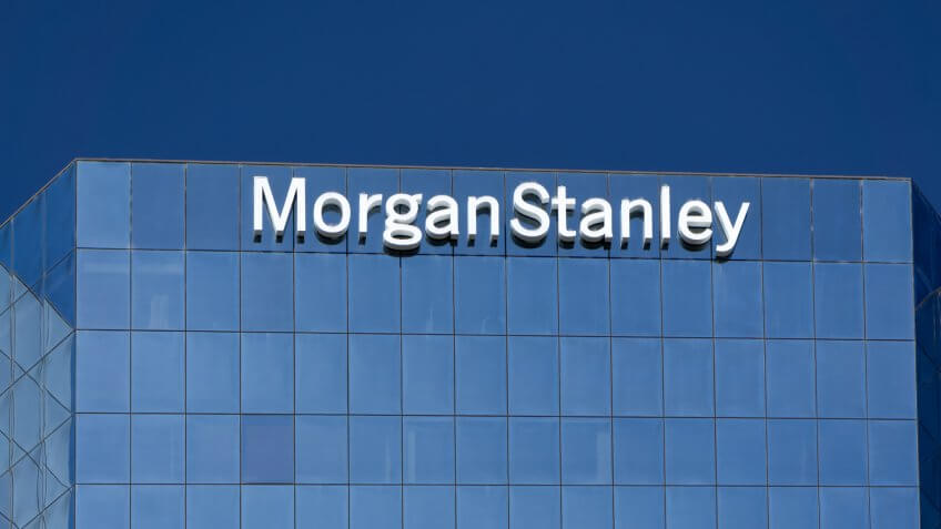 LOS ANGELES, CA/USA - JULY 11, 2015: Morgan Stanely building and logo.
