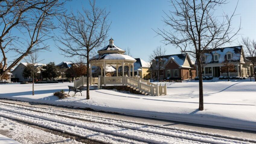 Gazebo after the snow storm in North Richland Hills.