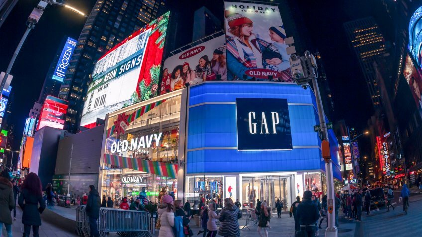 New York,NY/USA/December 18, 2018 Gap next to its Old Navy brand store in Times Square in New York - Image.