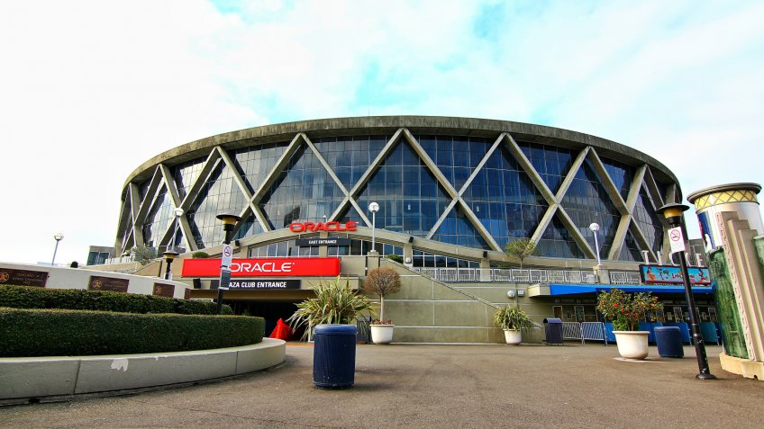 Oakland, California, USA-19 February 2015:Exterior view of Oracle Arena - Image.