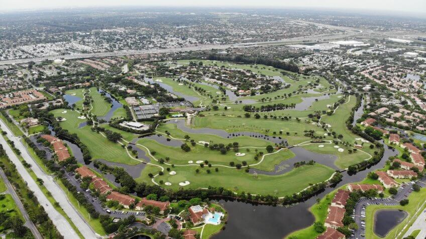 Aerial shot of the Lago Mar Golf Course in Plantation, Florida.