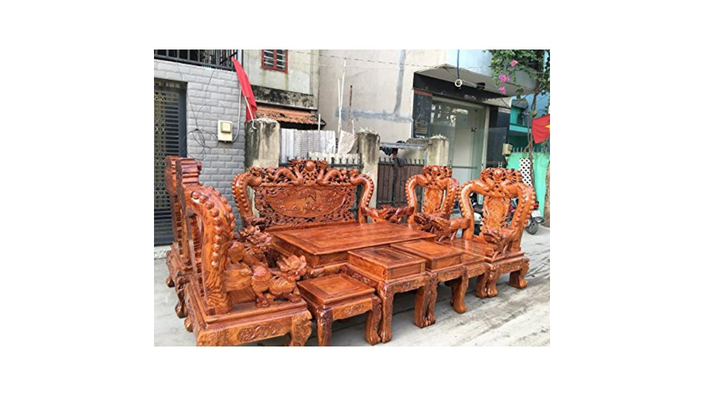 Rare Classic Asian Dragon Engraves Furniture Chair & Desk Set Solid Wood Home Decor Made of Rare Burma Padauk Wood Amazon