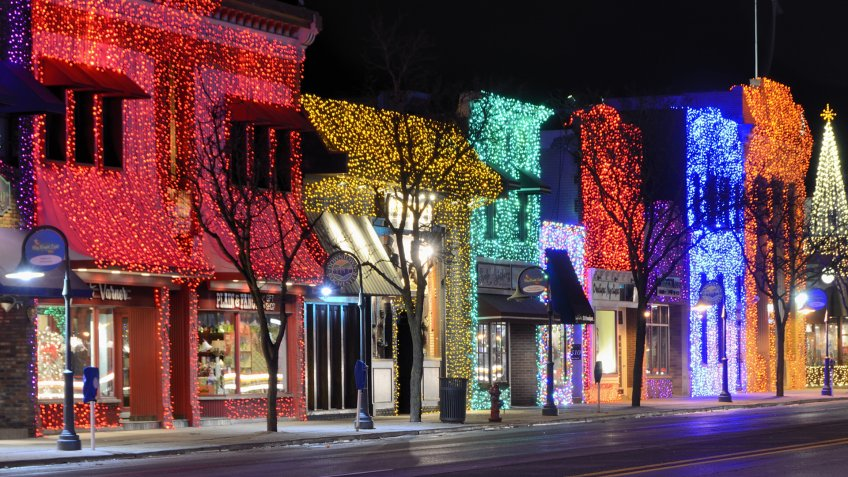 Rochester, Michigan, USA - January 1, 2012: The quaint downtown of Rochester, Michigan all lit up with colorful lights for the holidays.