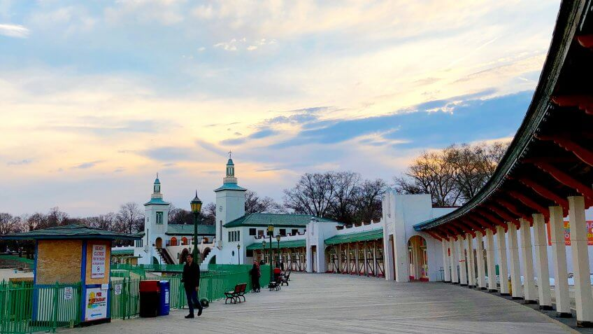 Rye, New York - March 14, 2019: People enjoying sunset at Rye Playland in Rye, New York - Image.