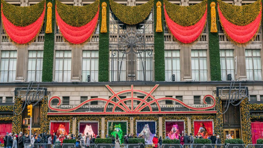 New York City, NY, USA - December, 2018 - Saks Fifth Avenue, luxury department stores, decorated for Christmas Holidays, Manhattan.