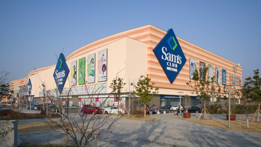 SUZHOU / CHINA - JANUARY 19, 2014: Newly-opened Link city shopping center / mall features membership discount store 'Sam's Club' - Image.