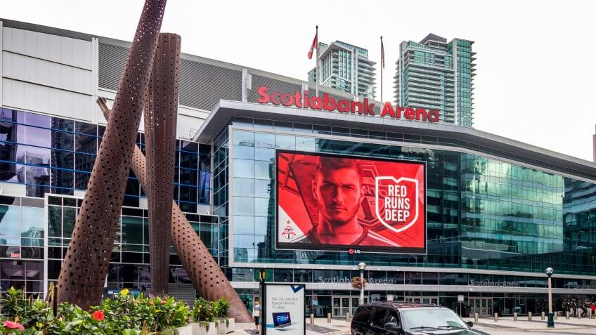 TORONTO, CANADA-AUGUST 30TH, 2018- Scotiabank Arena, formerly the Air Canada Centre, is a multi-purpose arena located on Bay Street in the South Core district of Downtown Toronto, Ontario, Canada.