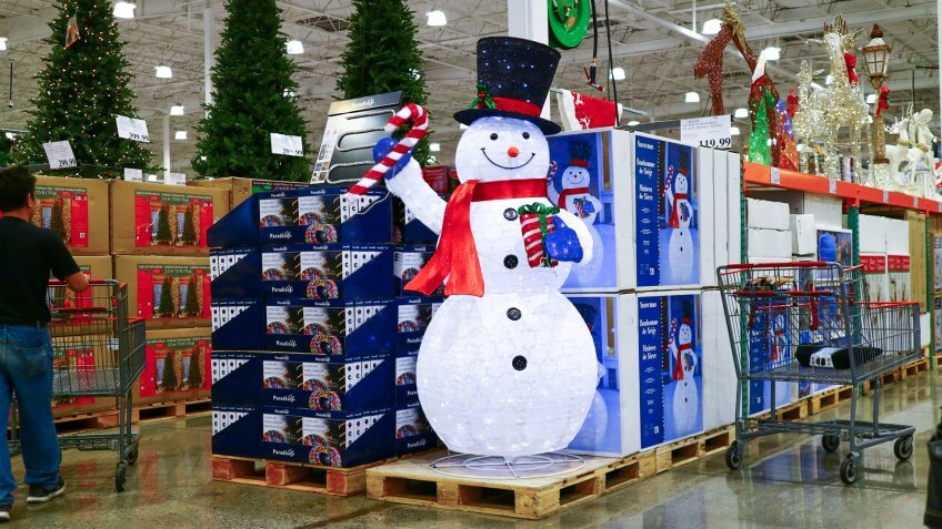 San Leandro, CA/USA - October 8, 2019: Snowman on display along with other winter holiday products at Costco Wholesale.