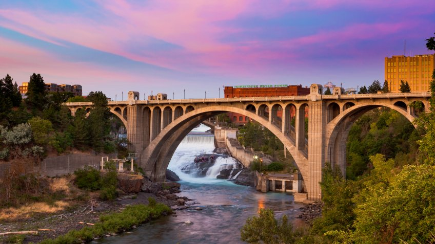View of the Maple Street Bridge in Spokane at Sunset - Image.