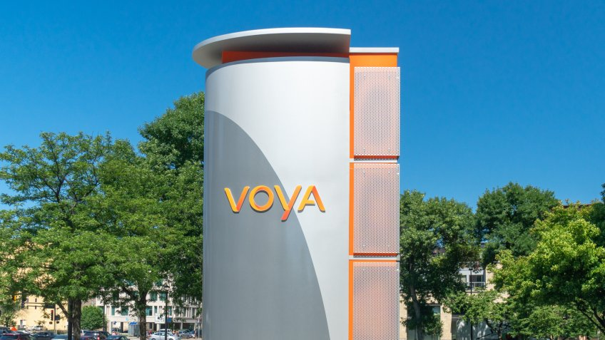 MINNEAPOLIS, MN/USA - JULY 7, 2018: Voya Financial exterior sign and trademark logo.