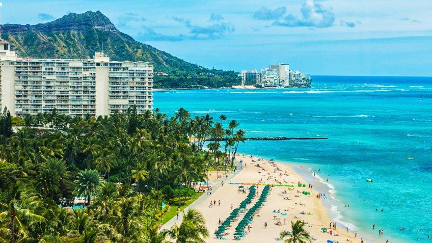 An aerial photo of Waikiki beach.