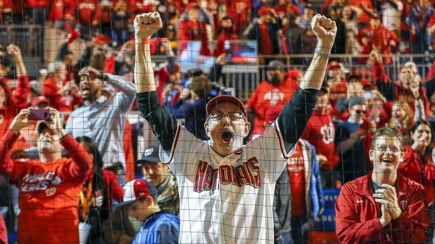 Washington Nationals fan celebrates during World Series