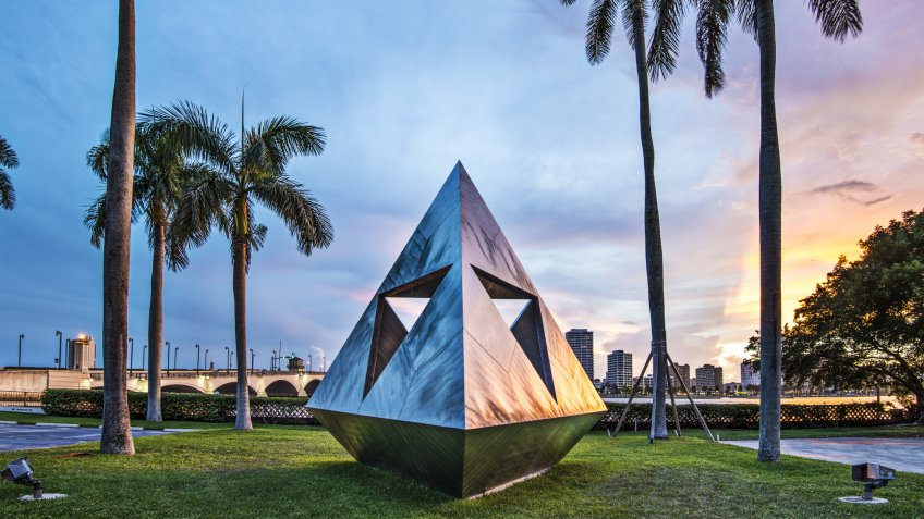 WEST PALM BEACH, FLORIDA - JUNE 25, 2013: Intetra by Isamu Noguchi.