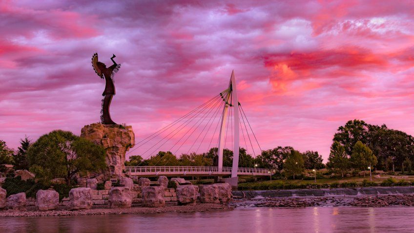 Keeper of the Plains Indian in Wichita, Kansas.