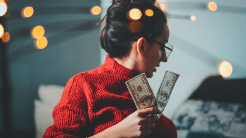 Businesswoman, Hand, Human Hand, Smiling, Winning, Dollars, Hipster, Bokeh.