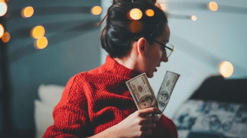 Businesswoman, Hand, Human Hand, Smiling, Winning, Dollars, Hipster, Bokeh.