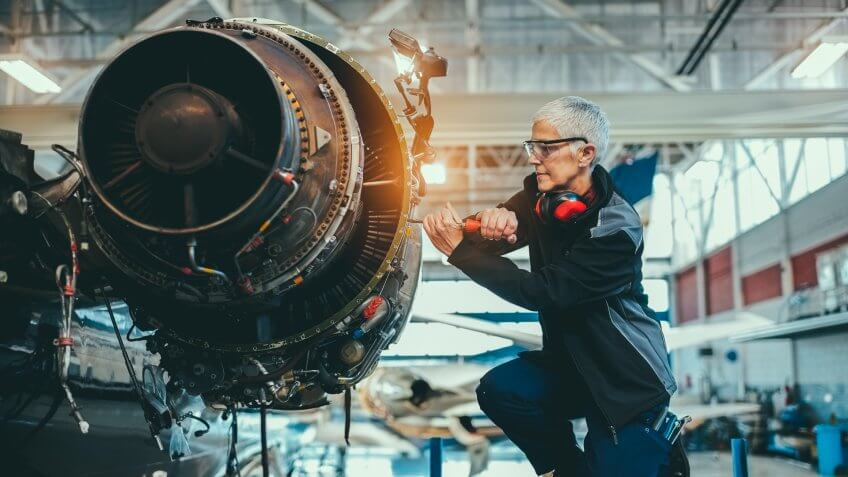airplane mechanic in manufacturing facility