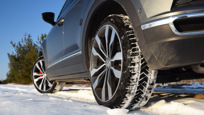 Zdiar, Slovakia - 21 March, 2018:  Winter tires in a car on the snowy road.