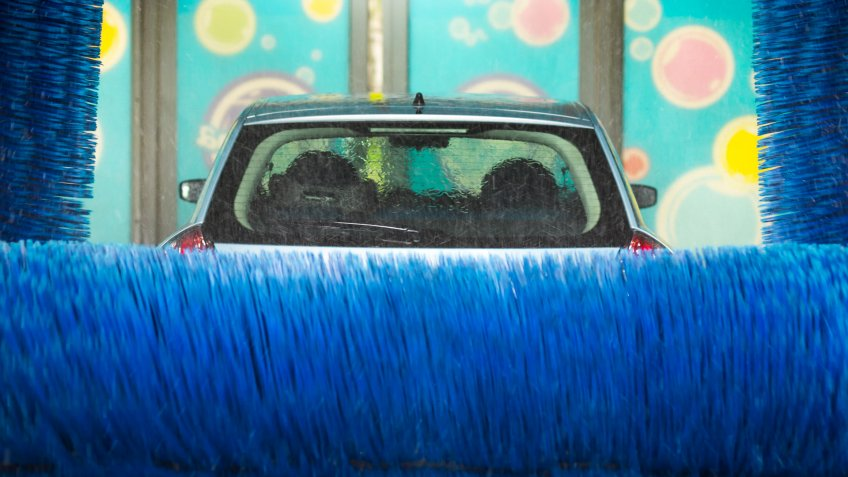 Automatic car wash in action, car wash clean, brushes.