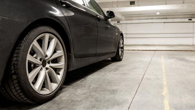 car parked in garage