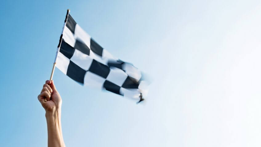 checkered flag for the winner
